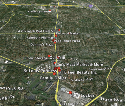 SigActs - Map of Businesses Looted In Ferguson, Missouri