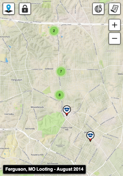 SigActs Map Of Looting In Ferguson, Missouri